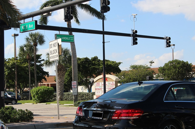 View of NE 8th Ave heading west on Hallandale Beach Boulevard